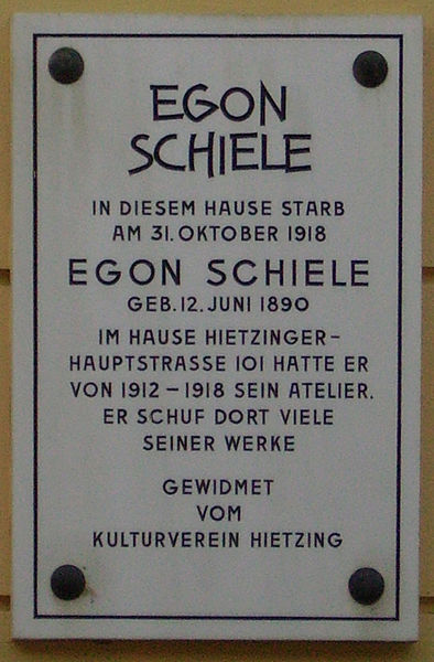 Commemorative plaque for Egon Schiele by Walter Anton