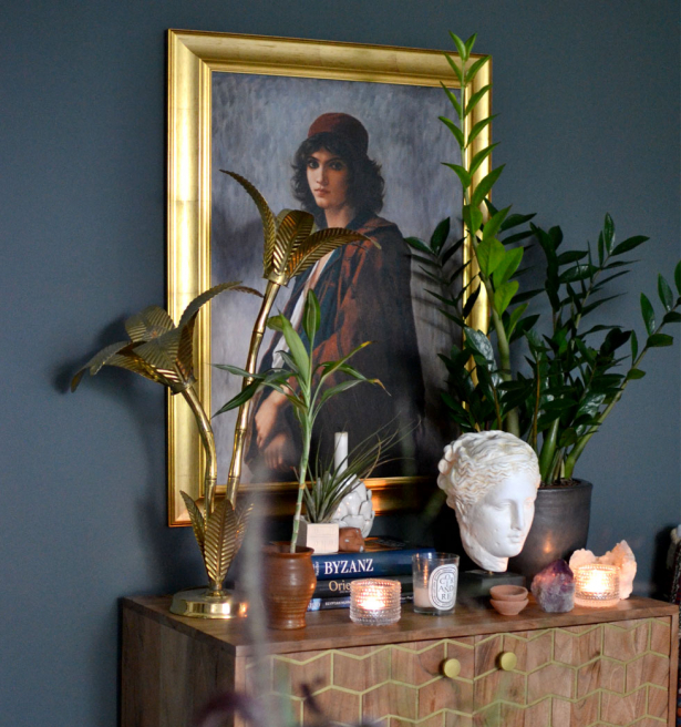 Young Bohemian Serb by Charles Landelle refined with a golden style frame