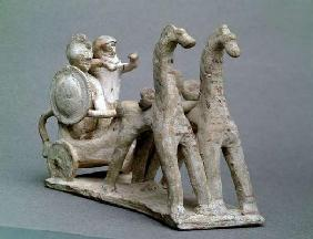 Chariot and horses, from the Tomb of Princess Nefertiabet, Old Kingdom (clay)