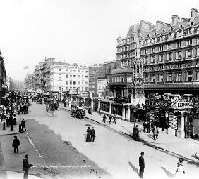 The Strand and Charing Cross Station, London, c.1890 (b/w photo)