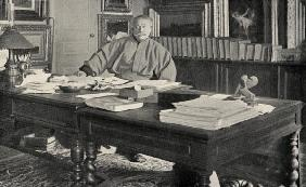 Alexandre Dumas Fils (1824-95) in his study (b/w photo)