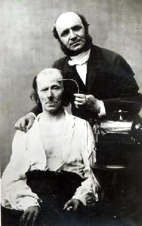 Duchenne de Boulogne with a ''victim patient'', 1862 (b/w photo)