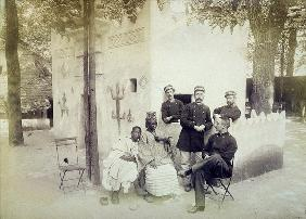 The Senegalese Village at the 1889 Universal Exposition in Paris (b/w photo)
