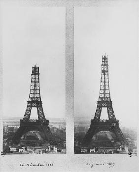 Two views of the construction of the Eiffel Tower, Paris, 26th December 1888 and 20th January 1889 (