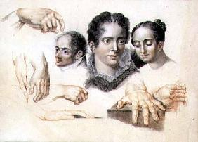 Studies of female and male heads and hands