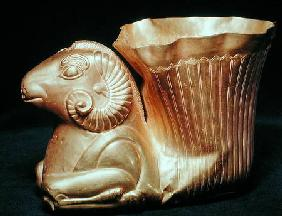 Rhyton in the shape of a seated Ram, Iran