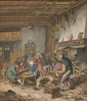 Room in an Inn with Peasants Drinking, Smoking and Playing Backgam