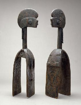 Male and female Waja masks, from Upper Benue River, Nigeria, 1850-1950