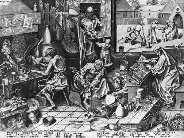 The Alchemist at work; engraved by Hieronymus Cock (c.1510-70)