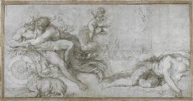 Cephalus carried off by Aurora in her Chariot (Cartoon for a fresco in the Gallery of the Palazzo Fa