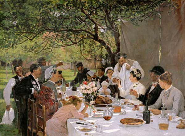 Albert Auguste Fourie - The Wedding Meal at Yport