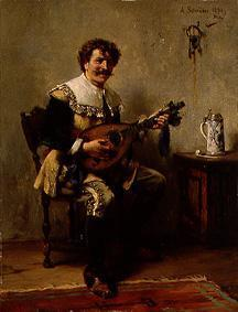 A happy lute player in clothes of the 17th Jh.s.
