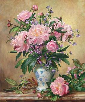 AB/302 Vase of Peonies and Canterbury Bells