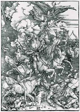 The apocalyptic riders (woodcut, uncolored)