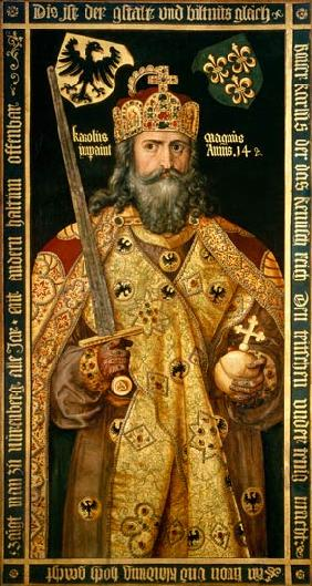 Charlemagne, Charles the Great (747-814) King of the Franks, Emperor of the West, in his coronation