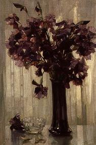 Vase with violet flowers