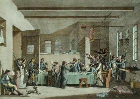 Interior of a Revolutionary Committee in 1792-93 (colour engraving)