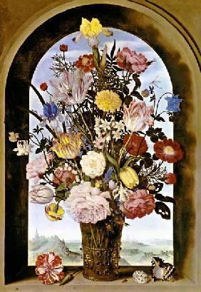 Bouquet of flowers in the window