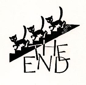 Black Cats Walking Down Stairs with 'The End' 1927
