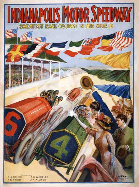 Poster advertising The Indianapolis Motor Speedway