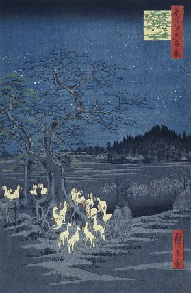 Fox Fires on New Year's Eve at the Garment Nettle Tree at Oji (One Hundred Famous Views of Edo)
