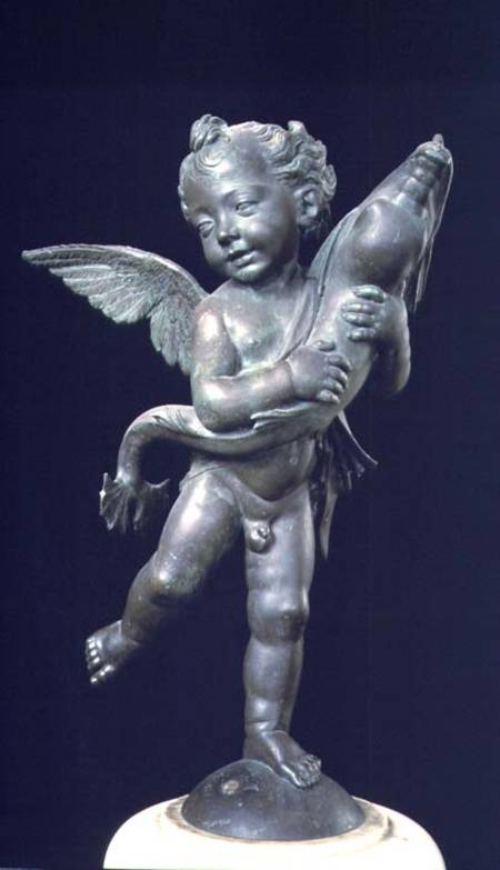 Discount Oil Change >> Putto with a dolphin, sculpture - Andrea del Verrocchio as art print or hand painted oil.