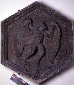 The Art of Flight, Daedalus, hexagonal decorative relief tile from a series depicting the practition