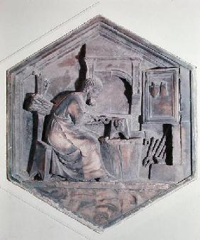 The Art of Forging, hexagonal decorative relief panels from a series depicting the practitioners of