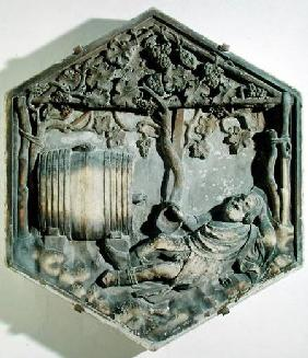 The Drunkenness of Noah, hexagonal decorative relief tile from a series illustrating episodes from G