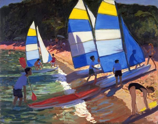 Sailboats, South of France, 1995 (oil on canvas)