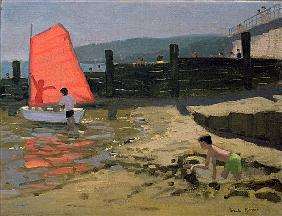 Red Sail, Isle of Wight (oil on canvas)