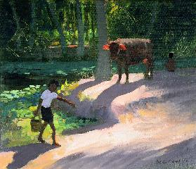 Kerala Backwaters, India, 1996 (oil on canvas)