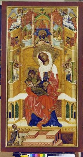 Maria with the child sitting enthroned (sucked Glatzer Madonna)