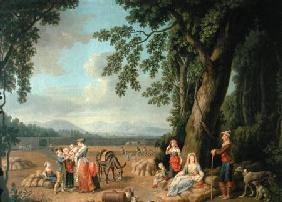 Harvest scene, with Ferdinand I (1503-64), his wife Anne of Bohemia and Hungary,and their children