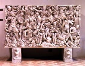 The Ludovisi sarcophagus with high relief representation of the Romans fighting the Barbarians