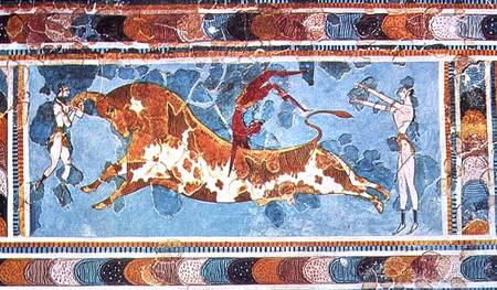 toreador fresco Minoan art crete ancient pottery architecture sculpture painting fresco metal gold.