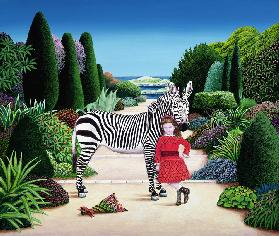 Girl with Zebra, 1984 (acrylic on board)