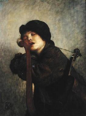 The Little Violinist Sleeping