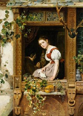 Siegert, August Friedrich : Dreaming on the windowsill