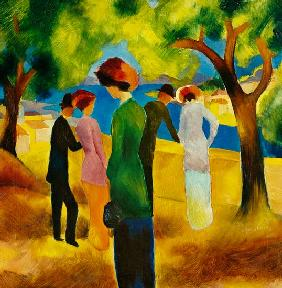 Macke, August : Lady in a green jacket