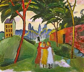Landscape with three girls