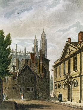 Front of Trinity Hall, Cambridge, from 'The History of Cambridge', engraved by Joseph Constantine St