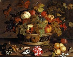 Quiet life with grapes, apples, peach, plums and flowers