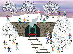 Stem train in the snow
