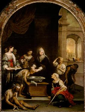 St. Elizabeth of Hungary tending the sick and leprous