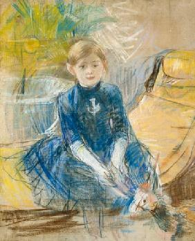 Morisot, Berthe : Little Girl with a Blue Je...