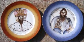 Two plates with with caricatures on Grigory Rasputin and Nicholas II of Russia
