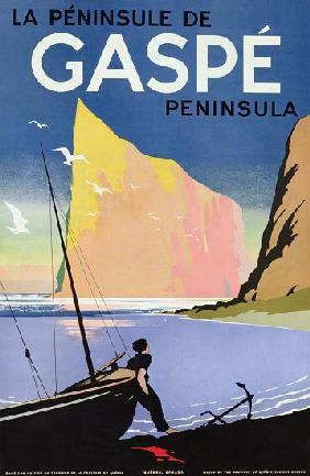 Poster advertising the Gaspe peninsula, Quebec, Canada