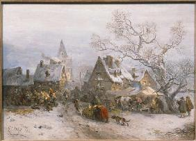 Hilgers, Carl : Market day in winter