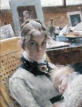 A Studio Idyll: The Artist's Wife and their Daughter Suzanne